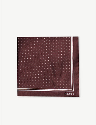 REISS: Jupiter micro-dot twill silk pocket square