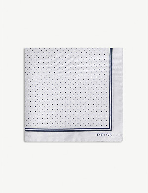 REISS Jupiter micro-dot twill silk pocket square