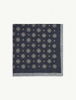 REISS Mountain medallion print wool pocket square