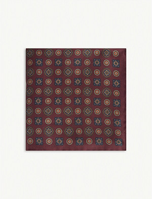 REISS Silk floral medallion print pocket square