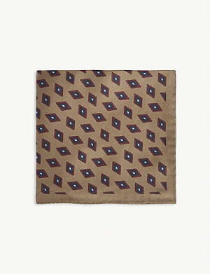 REISS Sinclair diamond print silk pocket square