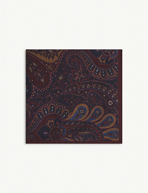 REISS Jonathon paisley print wool pocket square