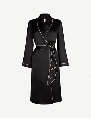 AGENT PROVOCATEUR: Contrast-piped silk robe