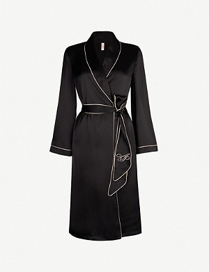 AGENT PROVOCATEUR Contrast-piped silk robe