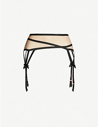 AGENT PROVOCATEUR: Joan satin-trim suspender belt