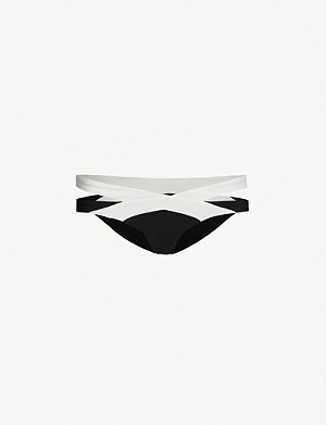 AGENT PROVOCATEUR Mazzy mid-rise two-tone bikini bottoms