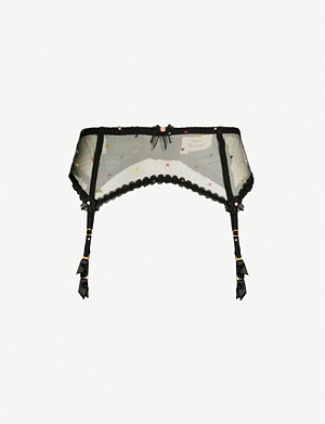 AGENT PROVOCATEUR Poppie tulle suspender belt