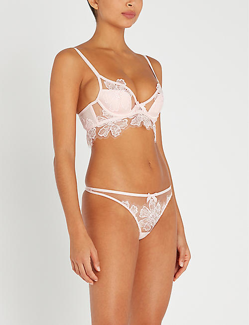 AGENT PROVOCATEUR Seraphina padded mesh and satin underwired bra