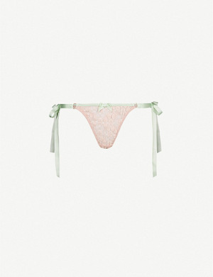 AGENT PROVOCATEUR Quin side-tie lace thong