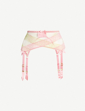 AGENT PROVOCATEUR Lace and mesh suspender belt