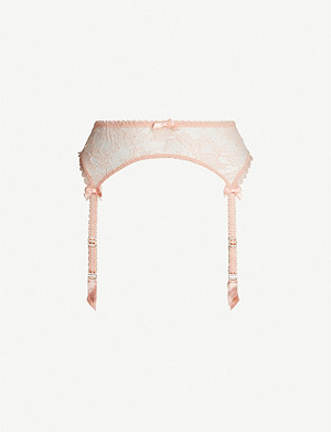 AGENT PROVOCATEUR Hinda lace and mesh suspender belt