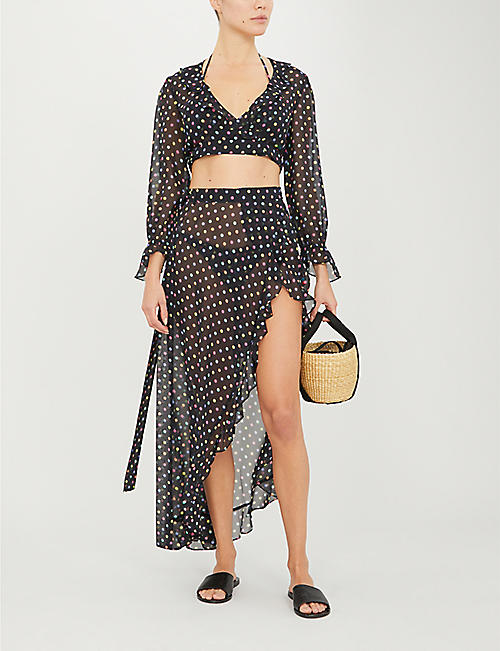 AGENT PROVOCATEUR Sidnie polka-dot ruffle-trim silk-crepe top