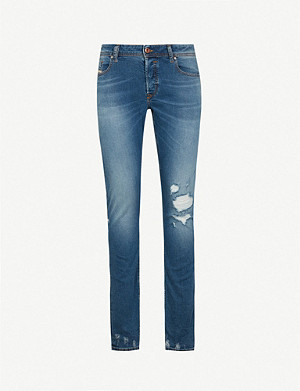 48f691df DIESEL · Sleenker ripped slim-fit skinny jeans · DIESEL Buster regular-fit tapered  jeans