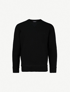DIESEL S-Tina logo-embroidered cotton-blend crewneck jumper