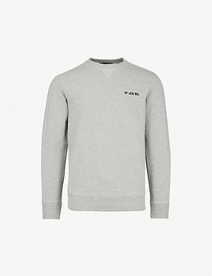 DIESEL S-Tina logo-embroidered cotton crewneck jumper