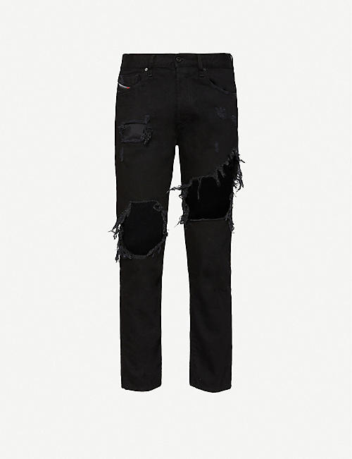 DIESEL: Mharky extreme-ripped jeans