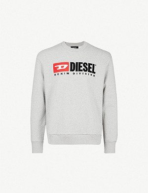 DIESEL S-Crew-Division logo-embroidered cotton-jersey jumper