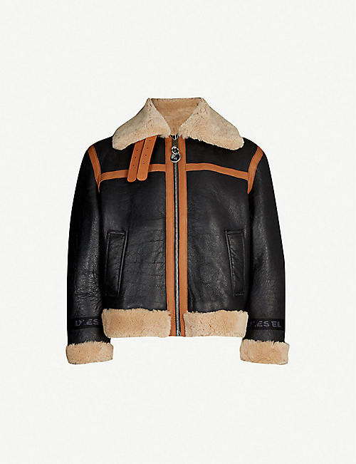 55f15564368 DIESEL L-Folson reversible leather and shearling aviator jacket