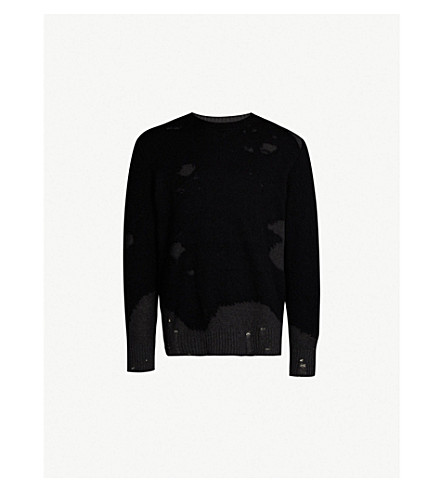 ba9380711 DIESEL K-Slour distressed cotton and mohair-blend jumper (Black
