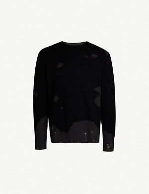 DIESEL K-Slour distressed cotton and mohair-blend jumper