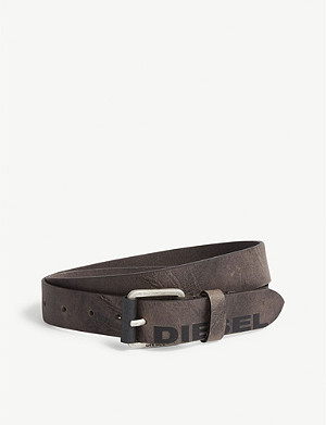 DIESEL B-Log buffalo leather belt