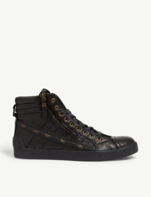 DIESEL D-STRING PLUS leather high-top trainers