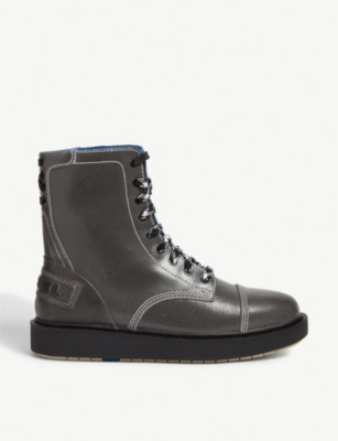 DIESEL D-CAGE DBB leather combat boots