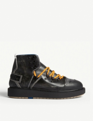 DIESEL D-Cage studded leather hiking boots