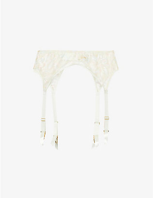 MYLA: Columbia Road floral-embroidered mesh suspender belt