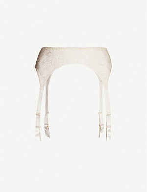 MYLA Columbia Road floral-embroidered mesh suspender belt