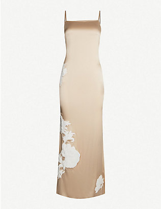 MYLA: Primrose Hill floral-embroidered stretch silk-satin night dress