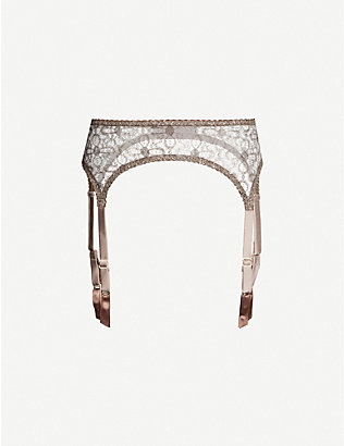 MYLA: Rosemoor Street metallic lurex-lace suspender belt