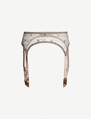 MYLA Rosemoor Street metallic lurex-lace suspender belt