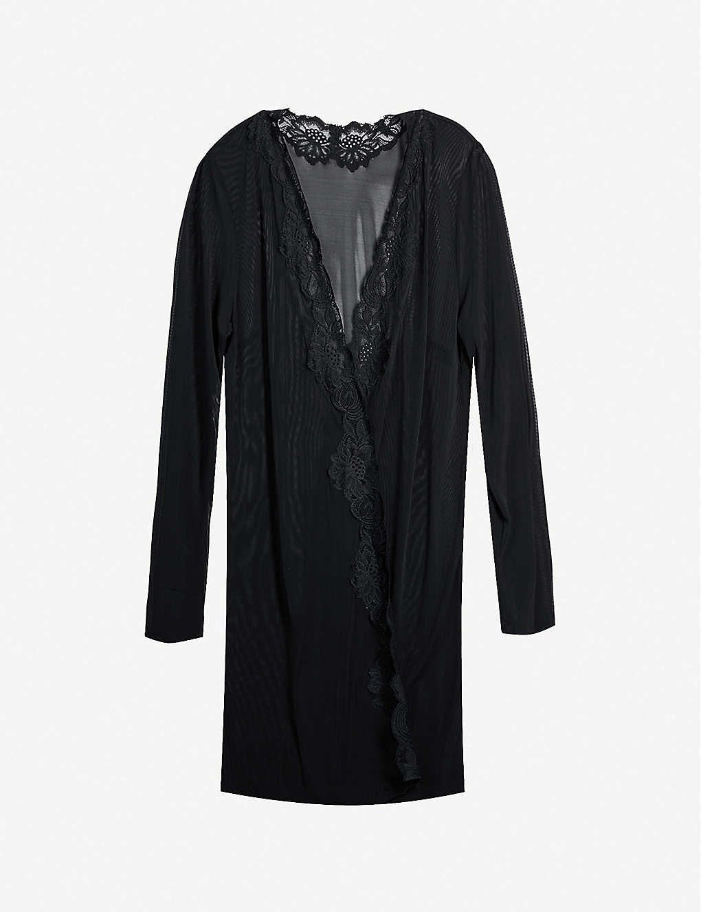 MYLA: Beaty Street collarless sheer mesh robe