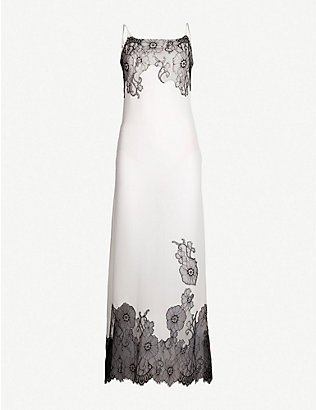 MYLA: Pansy Gardens lace-embellished silk-crepe de chine slip dress