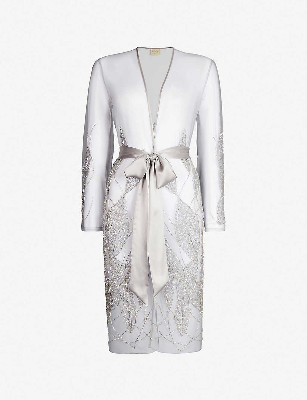 MYLA: Princes Street leaf-embroidered tulle robe