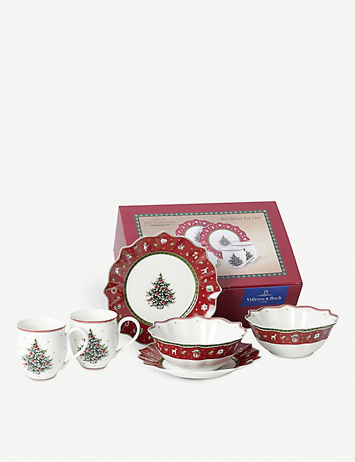VILLEROY & BOCH: Breakfast for Two Christmas crockery set of six