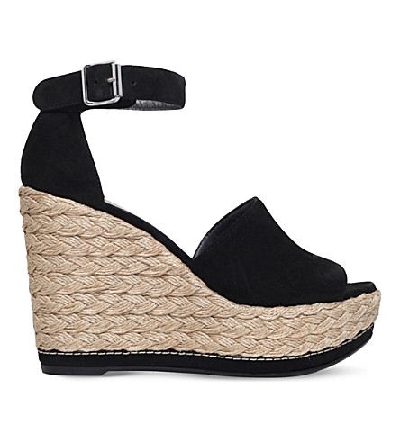 e1977054465 STUART WEITZMAN Sohojute linen wedge sandals (Black