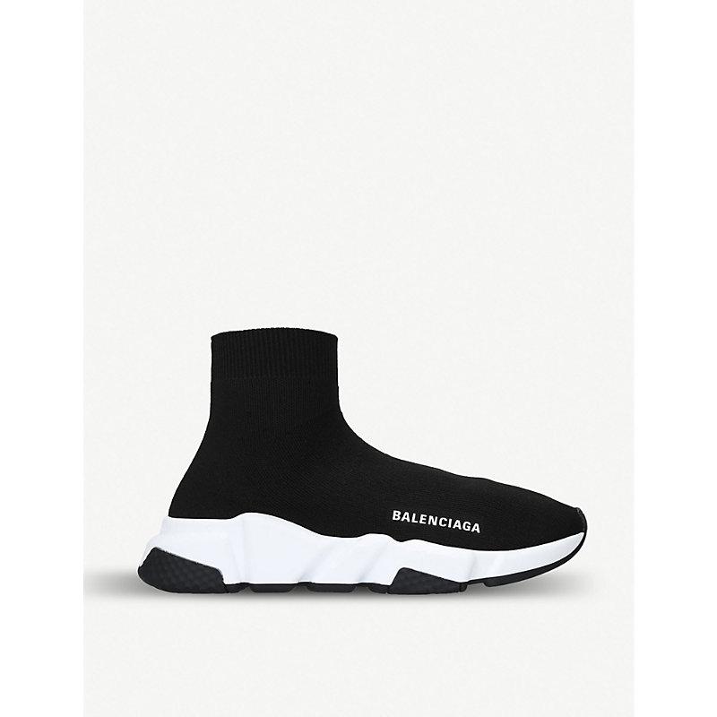 Balenciaga Speed Logo-Print Stretch-Knit High-Top Sneakers In Black