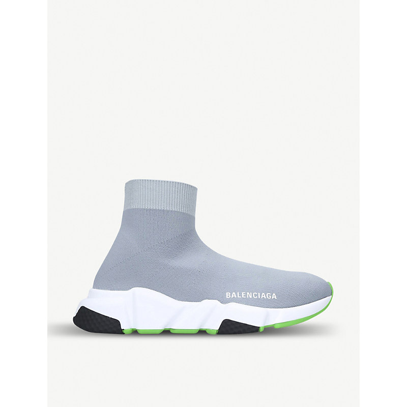 BALENCIAGA   Speed Mid-Top Stretch-Knit Trainers   Goxip