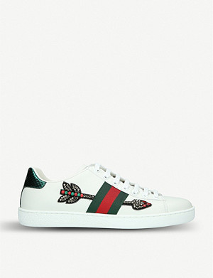 GUCCI New Ace embellished-arrow leather trainers
