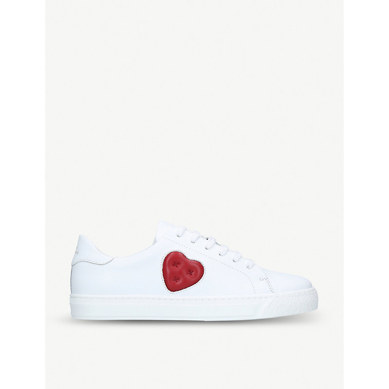 Anya Hindmarch CHUBBY HEART LEATHER TRAINERS
