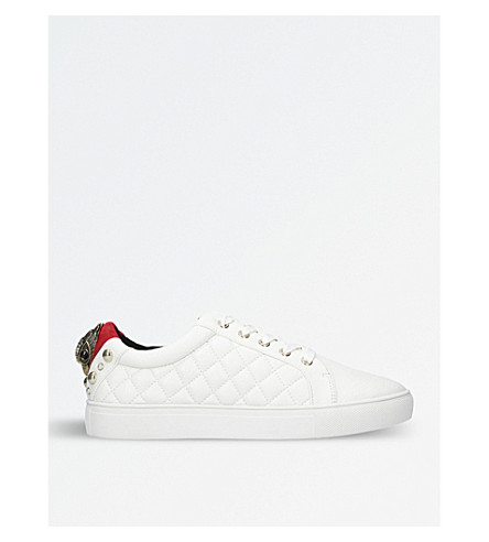 Ludo Quilted Eagle-Detailed Trainers, White