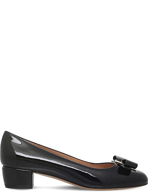 SALVATORE FERRAGAMO Vara patent-leather heeled courts