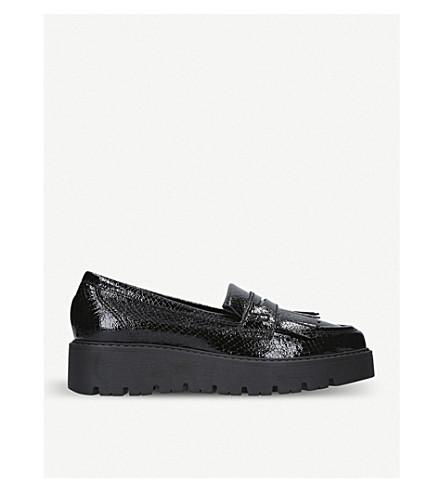 Snake-Embossed Kompton Flatform Loafers in Black