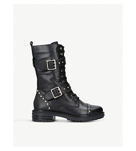 Leather Sting Biker Boots, Blk/Other