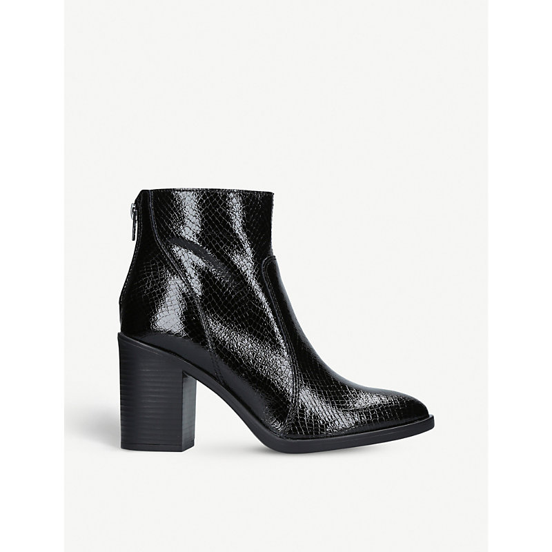 Sly Patent Leather Ankle Boots, Black
