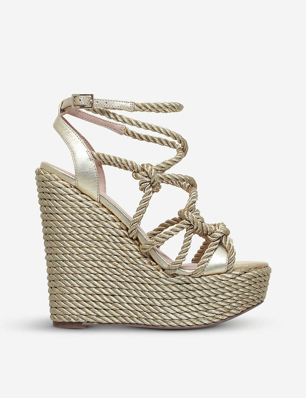 f5f7191d60c KURT GEIGER LONDON - Notty metallic rope-detail wedge sandals ...