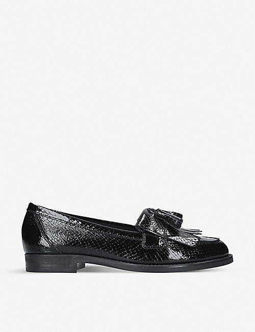 KURT GEIGER LONDON Klarke snake-embossed leather tassel loafers