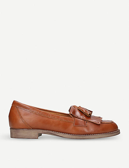 KURT GEIGER LONDON: Klarke snake-embossed leather tassel loafers